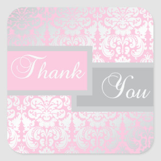 Pink and Gray Damask Thank You Sticker