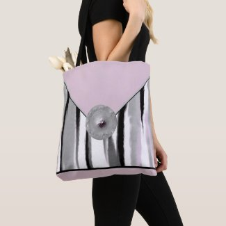 Pink and Gray Designer Fashion Tote Bag