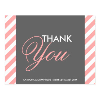 Pink and Gray Diagonal Stripes Thank You Post Card