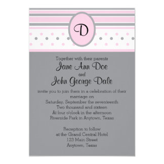 Pink and Gray Dots and Stripes Invitation