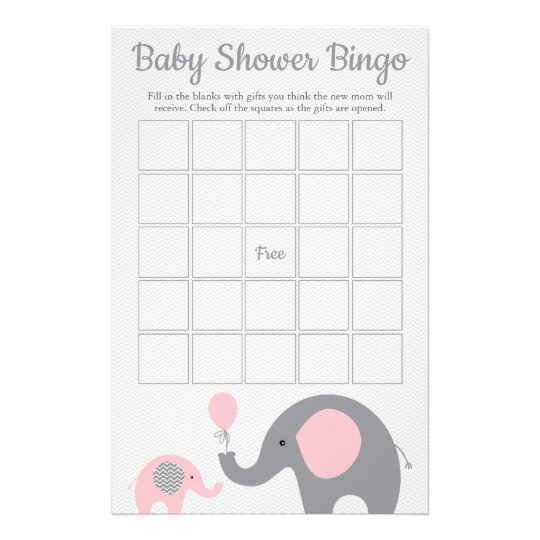 Pink And Gray Elephant Baby Shower Bingo Game Card Zazzle Com