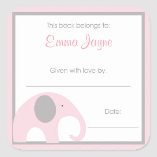 Pink and Gray Elephant Baby Shower Book Plate