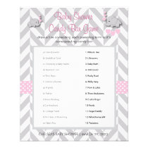 Pink and Gray Elephant Baby Shower Game Flyer