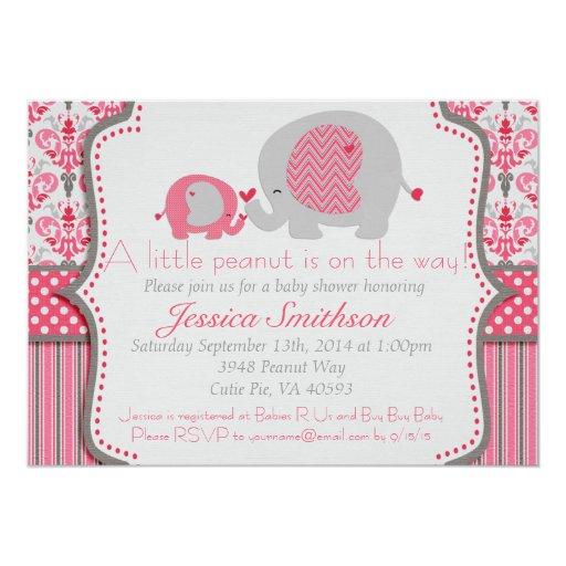 pink and gray elephant baby shower invitation zazzle