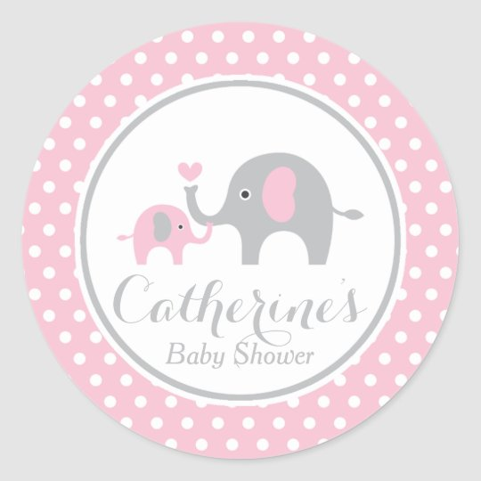 Pink And Gray Elephant Baby Shower Sticker Zazzle Com