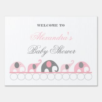 Pink and Gray Elephant Baby Shower Welcome