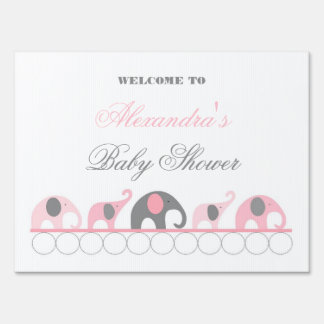 Pink and Gray Elephant Baby Shower Welcome Lawn Signs