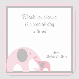 Pink and Gray Elephant Favor Label