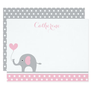 Pink and Gray Elephant Heart Thank You Card