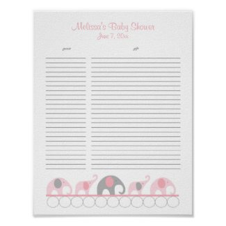 Pink and Gray Elephants Baby Shower Gift List