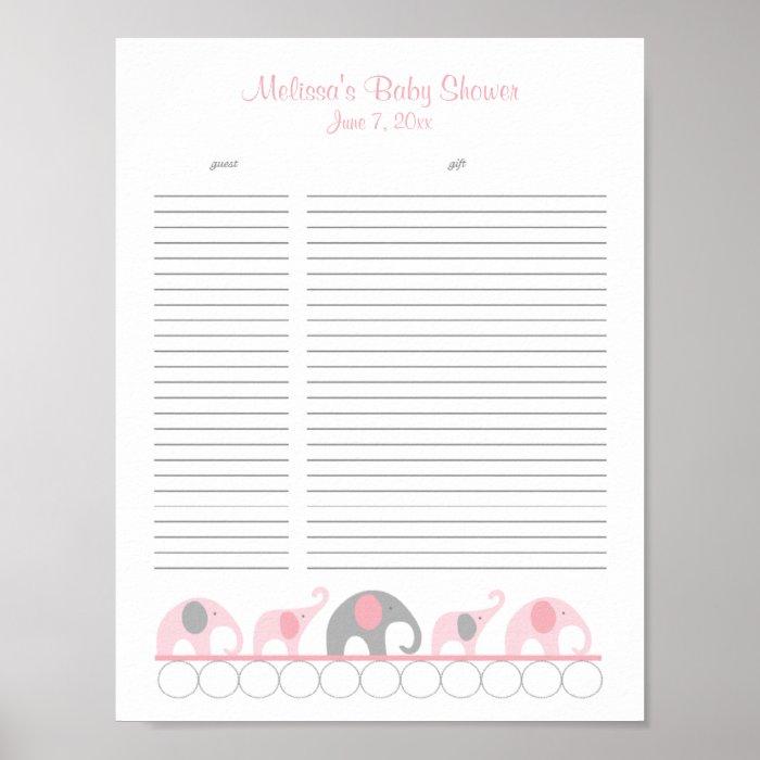 Gianna S Pink And Gray Elephant Nursery Reveal: Pink And Gray Elephants Baby Shower Gift List Poster