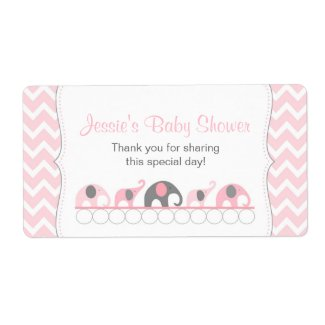 Pink and Gray Elephants Water Bottle Favor Label