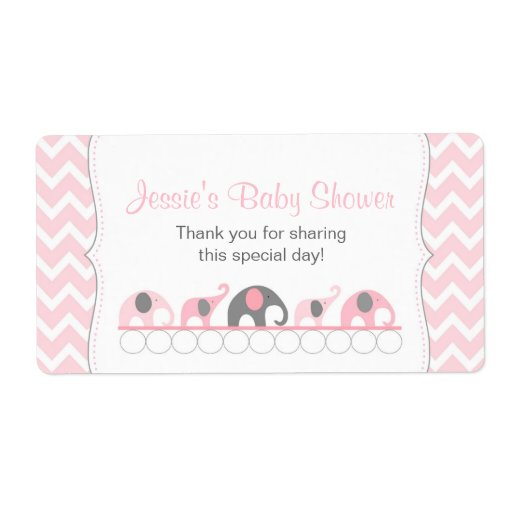 Pink And Gray Elephants Water Bottle Favor Label Shipping