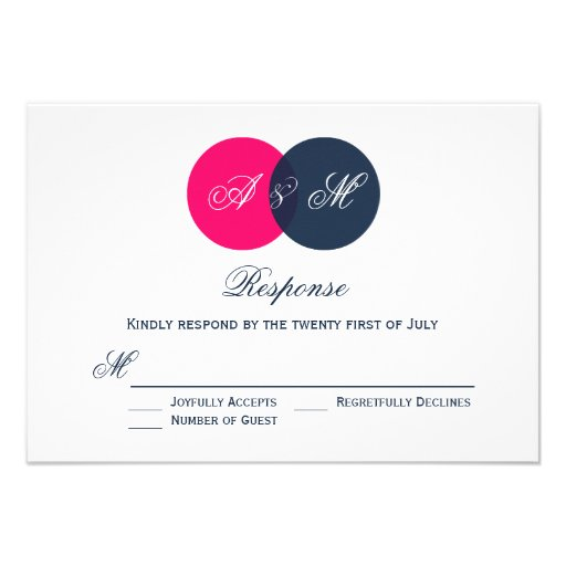 Pink and Gray Entwined Circles Wedding RSVP Card