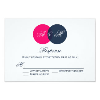 Pink and Gray Entwined Circles Wedding RSVP Card Custom Announcements