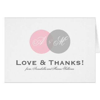 Pink and Gray Entwined Monogram Thank You Card