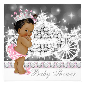 Pink and Gray Ethnic Princess Baby Shower 5.25x5.25 Square Paper Invitation Card