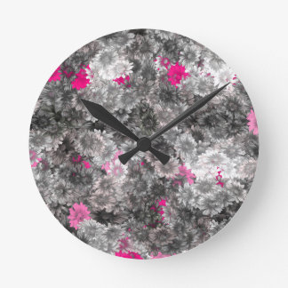 Pink and Gray Floral Art Round Clock