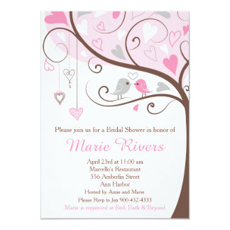 Pink and Gray Floral Bird Bridal Shower Card