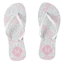 Pink and Gray Floral Damask Monogrammed Flip Flops