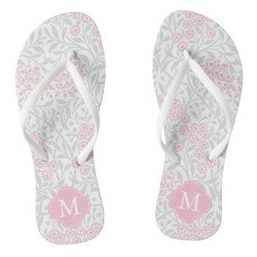 heartlocked Pink and Gray Floral Damask Monogrammed Flip Flops