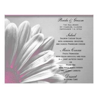 Pink and Gray Floral Highlights Wedding Menu