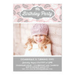 PINK AND GRAY FLORAL PATTERN BIRTHDAY INVITATION