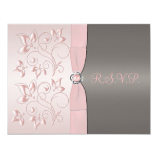 Pink and Gray Floral RSVP Card