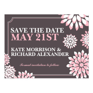 Pink and Gray Floral Save The Date Postcard