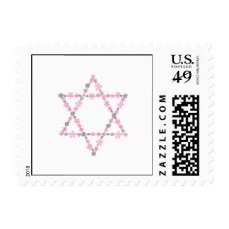 Pink and Gray Floral Star of David Bat Mitzvah Postage
