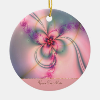 Pink And Gray Flower Ceramic Ornament