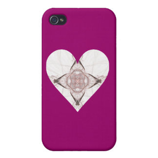 Pink and Gray Fractal Art Heart Cases For iPhone 4