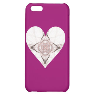 Pink and Gray Fractal Art Heart iPhone 5C Covers