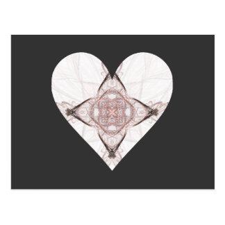 Pink and Gray Fractal Art Heart Postcard