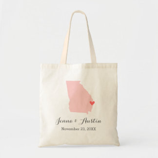 Pink and Gray Georgia Wedding Welcome Tote Bag