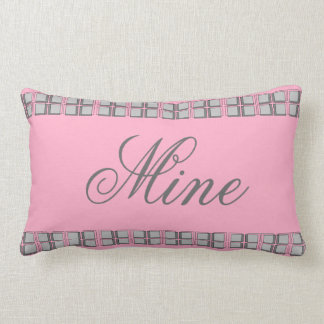 Pink and Gray Girly Modern Travel Pillow Mine