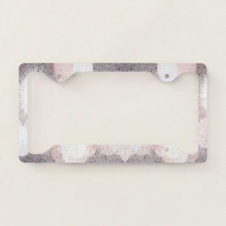 Pink And Gray Glitter Looking Pattern License Plate Frame