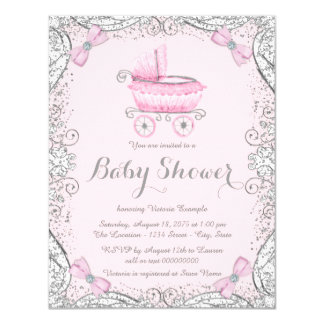 Pink and Gray Glitter Pram Baby Shower Card