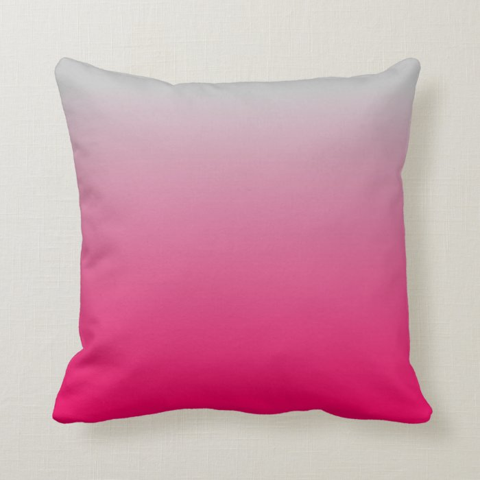 Pink And Grey Decorative Pillows : Pink and Gray Gradient Throw Pillow Zazzle