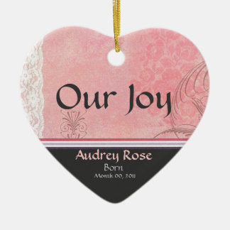 Pink and Gray Heart Birth Announcement Ornament