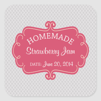 Pink and Gray Homemade Goods Label Square Sticker