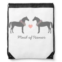 Pink and Gray Horses Wedding Drawstring Backpack