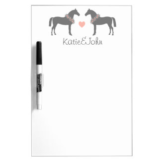 Pink and Gray Horses Wedding Dry-Erase Whiteboard