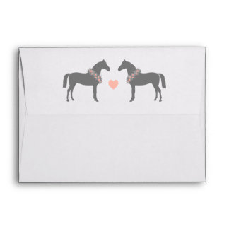Pink and Gray Horses Wedding Envelope