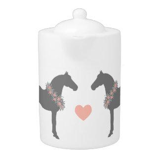 Pink and Gray Horses Wedding Teapot