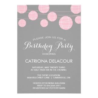 PINK AND GRAY LANTERNS BIRTHDAY PARTY INVITATION