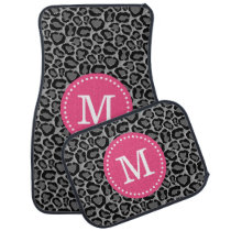 Pink and Gray Leopard Print Custom Monogram Car Mat