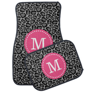 Pink and Gray Leopard Print Custom Monogram Car Mat