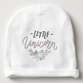 Pink and Gray Little Unicorn Hand Lettered Floral Baby Beanie