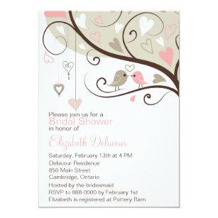 pink and gray love birds bridal shower invitation